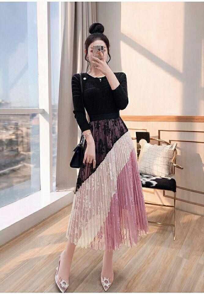 广州高端女服装百褶半身裙两件套批发